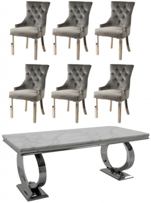 Buy Vida Living Selene White Marble and Chrome 200cm Dining Table with 4 Grey Knockerback Chrome Leg Chairs and Get 2 Extra Chairs Worth £398 For FREE