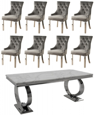 Buy Vida Living Selene White Marble and Chrome 200cm Dining Table with 6 Grey Knockerback Chrome Leg Chairs and Get 2 Extra Chairs Worth £398 For FREE
