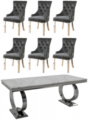 Buy Vida Living Selene White Marble and Chrome 200cm Dining Table with 6 Black Knockerback Chrome Leg Chairs and Get 2 Extra Chairs Worth £398 For FREE