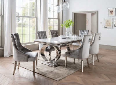 Vida Living Selene 200cm Bone White Marble and Stainless Steel Chrome Dining Table with Belvedere Pewter Velvet Chairs