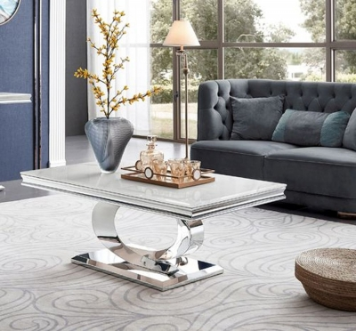 Vida Living Selene Bone White Marble Coffee Table