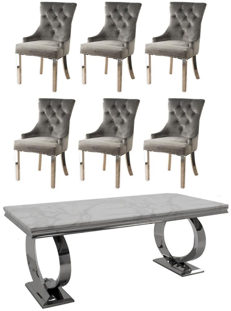 Vida Living Selene 200cm Bone White Marble Dining Table and Grey Knockerback Chrome Leg Chairs