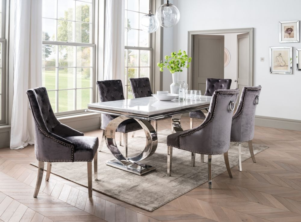 Vida Living Selene 200cm Bone White Marble and Stainless Steel Chrome Dining Table with Belvedere Charcoal Velvet Chairs