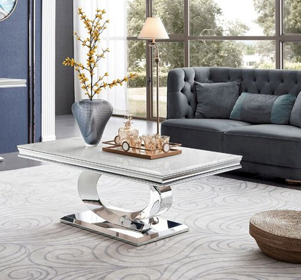Vida Living Selene Coffee Table - Bone White Marble and Chrome
