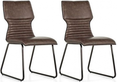 Vida Living Serafina Brown Faux Leather Dining Chair (Pair)