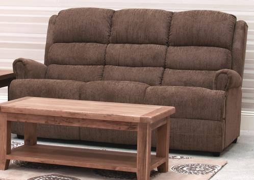 Vida Living Shelby Brown 3 Seater Fixed Sofa