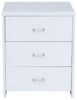 Vida Living Sierra White Gloss Bedside Cabinet - 3 Drawer