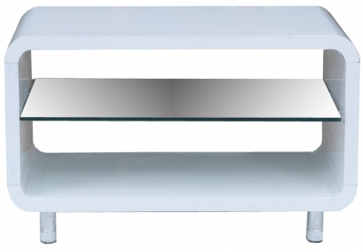Vida Living Sierra White Gloss TV Unit - Small