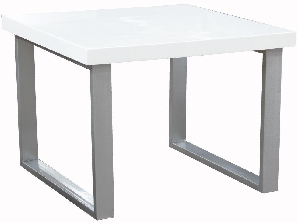 Vida Living Sierra White High Gloss End Table with Chrome Legs