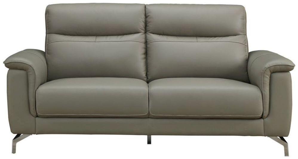 Vida Living Simone Grey Leather 3 Seater Sofa