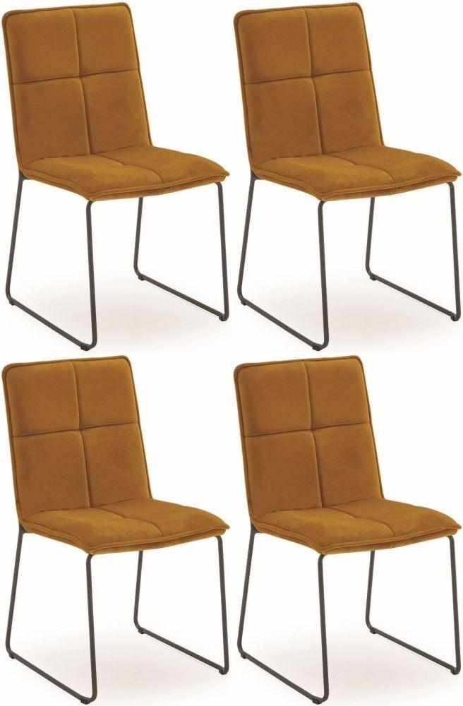 Vida Living Soren Dining Chair (Set of 4) - Mustard Velvet