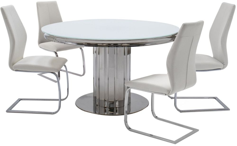 Vida Living Greco White Glass Top Round Dining Table