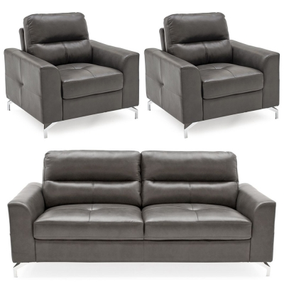 Vida Living Tanaro Grey Leathaire 3+1+1 Seater Sofa