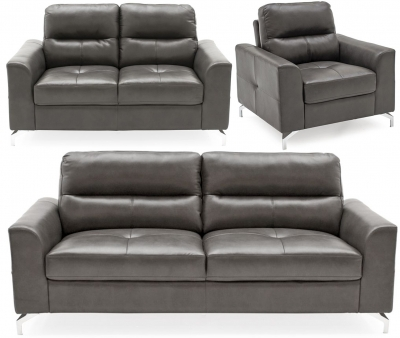 Vida Living Tanaro Grey Leathaire 3+2+1 Seater Sofa