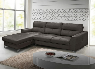 Vida Living Tanaro Grey Leathaire Left Hand Facing Corner Sofa