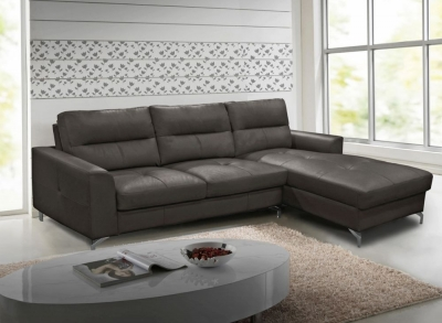 Vida Living Tanaro Grey Leathaire Right Hand Facing Corner Sofa