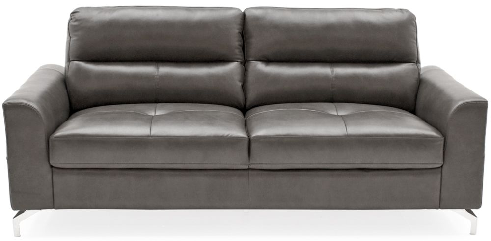 Vida Living Tanaro Grey Leathaire Fabric 3 Seater Sofa with Chrome Legs