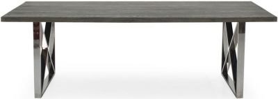 Vida Living Tephra 140cm Stainless Steel Chrome Base Dining Table