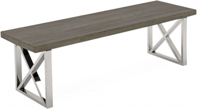 Vida Living Tephra Stainless Steel Chrome Base Bench