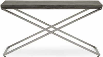 Vida Living Tephra Stainless Steel Chrome Base Console Table