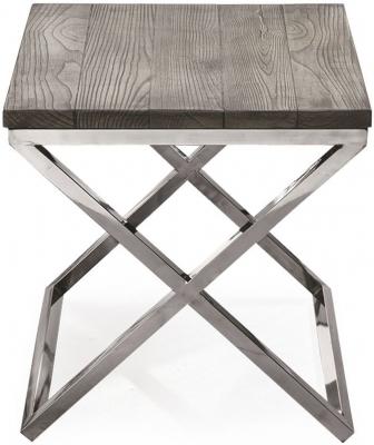 Vida Living Tephra Stainless Steel Chrome Base Lamp Table