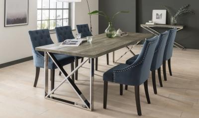 Vida Living Tephra Small Dining Table - Grey and Chrome