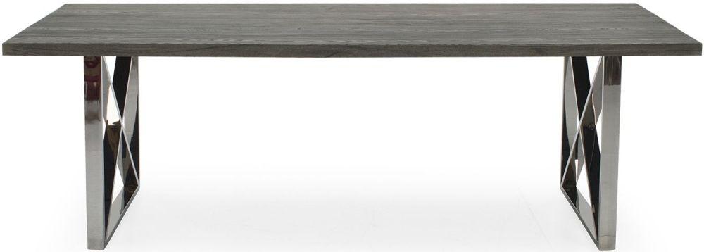Vida Living Tephra 140cm Stainless Steel Chrome Base Dining Table