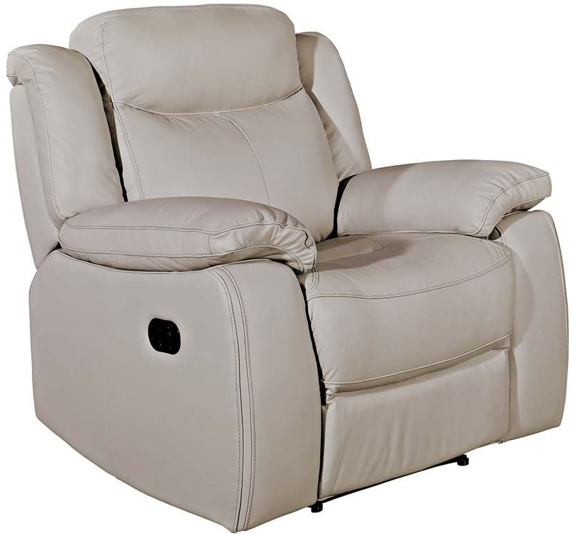Vida Living Torretta Recliner Chair - Light Grey Leather