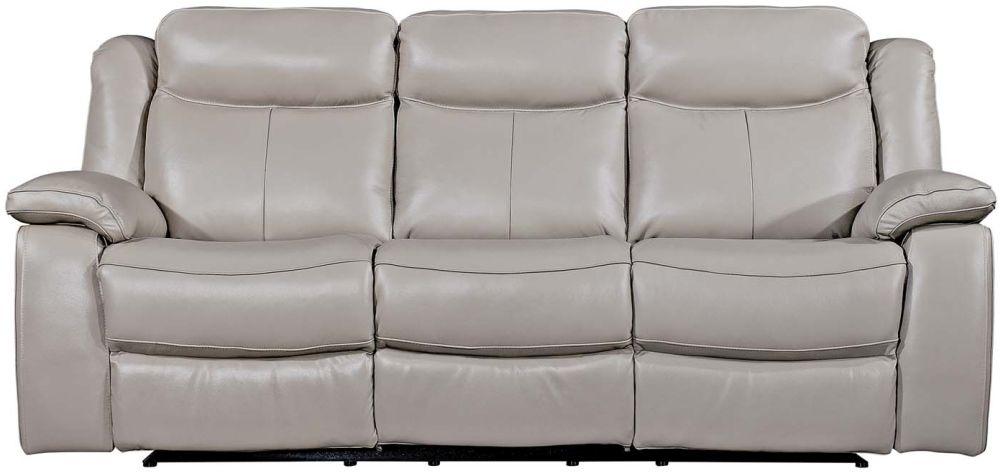 Vida Living Torretta Light Grey Leather 3 Seater Recliner Sofa