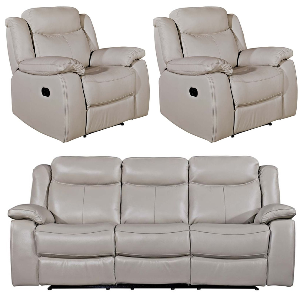 Vida Living Torretta Light Grey Leather 3+1+1 Seater Recliner Sofa