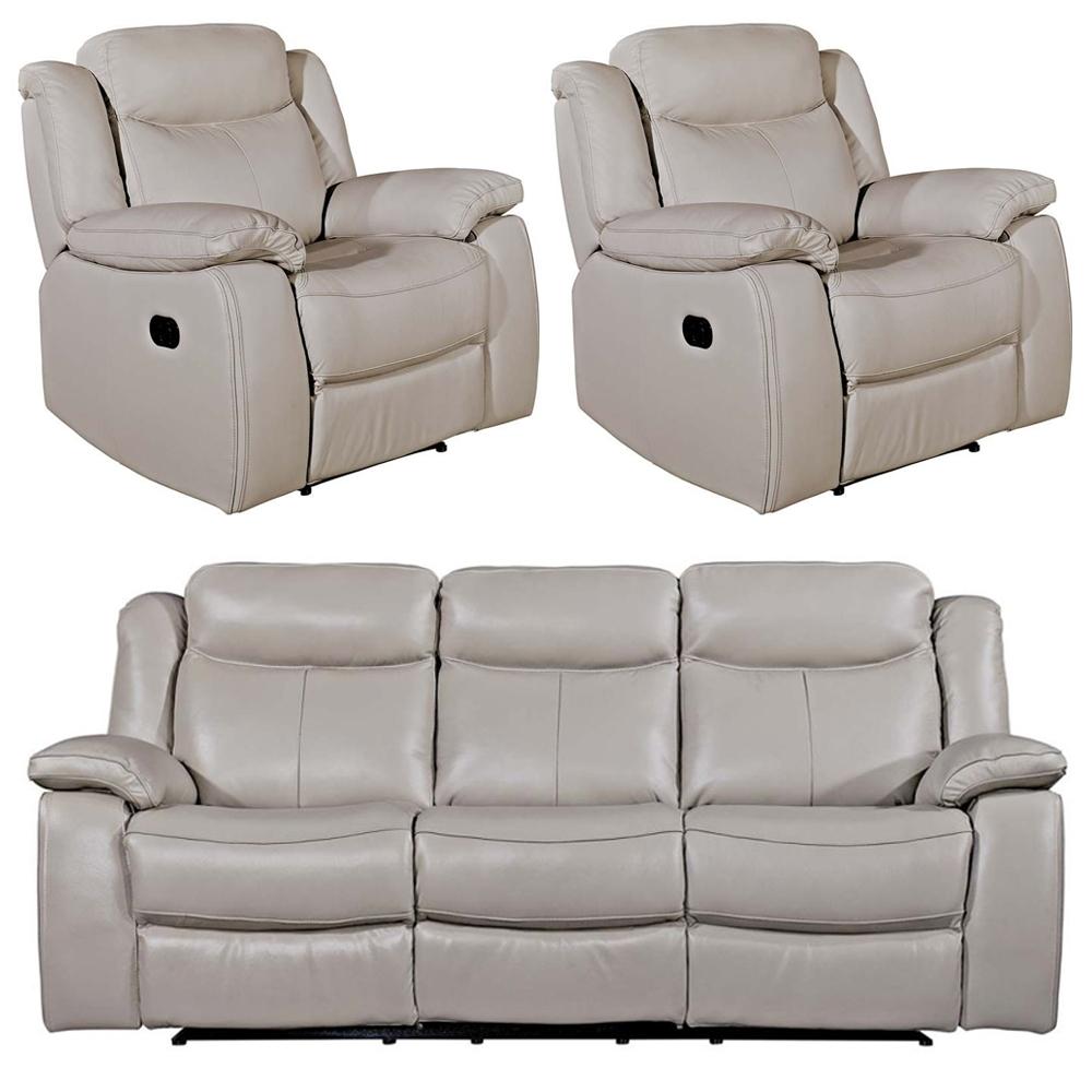 Vida Living Torretta Light Grey Leather 3+1+1 Seater Recliner Sofa