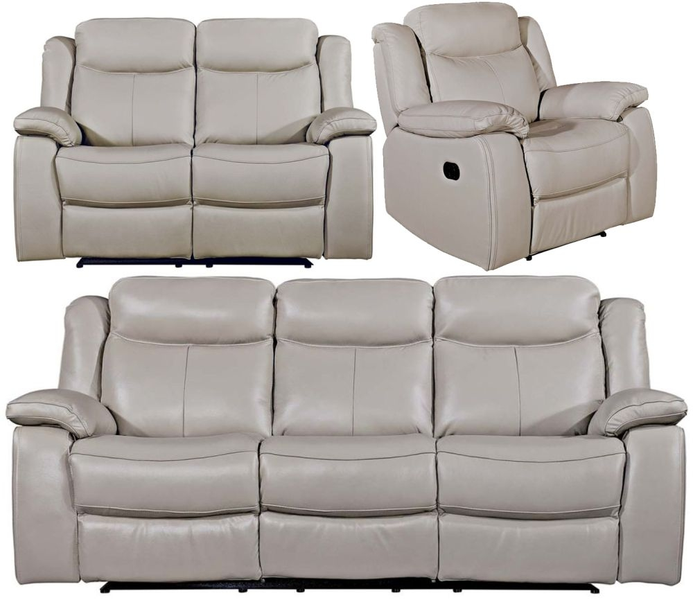 Vida Living Torretta Light Grey Leather 3+2+1 Seater Recliner Sofa