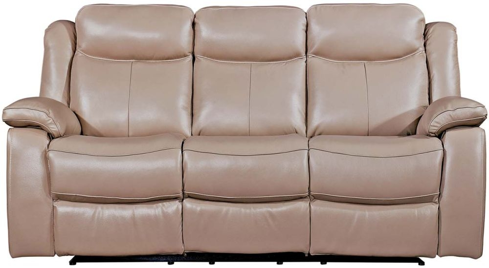 Vida Living Torretta Taupe Leather 3 Seater Recliner Sofa