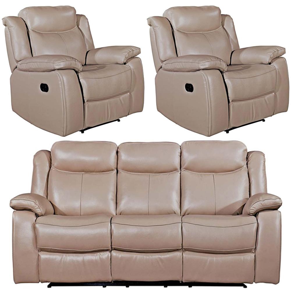 Vida Living Torretta Taupe Leather 3+1+1 Seater Recliner Sofa