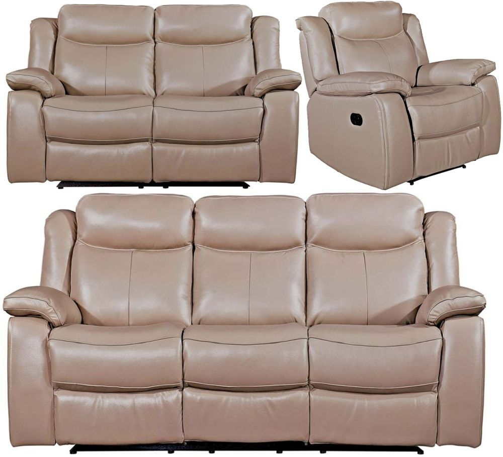 Vida Living Torretta Taupe Leather 3+2+1 Seater Recliner Sofa