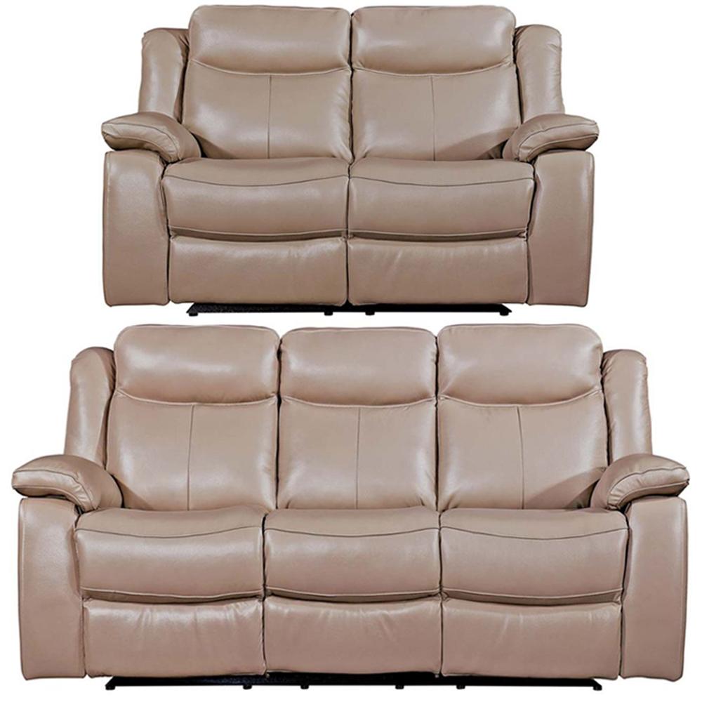 Vida Living Torretta Taupe Leather 3+2 Seater Recliner Sofa