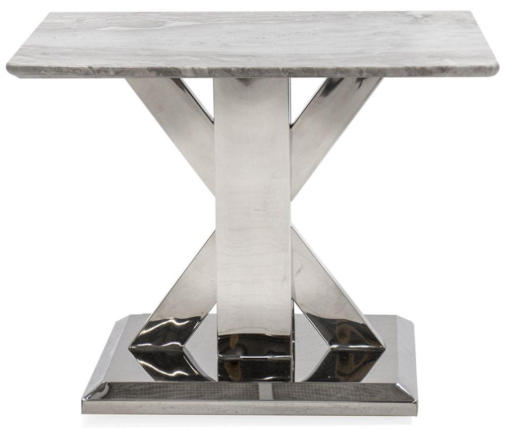 Vida Living Tremmen Grey Marble Lamp Table