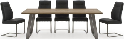 Vida Living Trier Oak Extending Dining Table and 6 Chairs - Chrome and Charcoal Fabric