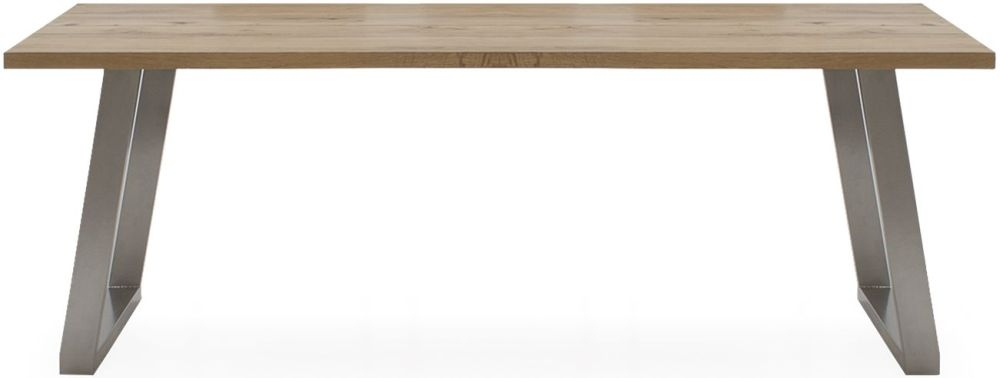 Vida Living Trier Extending Dining Table - Oak and Chrome
