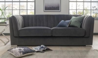 Vida Living Upton Grand Charcoal Fabric 3 Seater Sofa with Chrome Legs