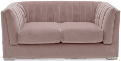 Vida Living Upton Midi Blush Fabric 2 Seater Sofa with Chrome Legs
