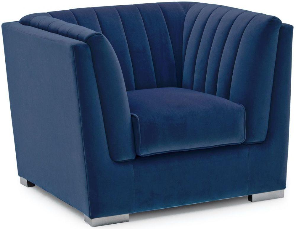 Vida Living Upton Blue Velvet Armchair