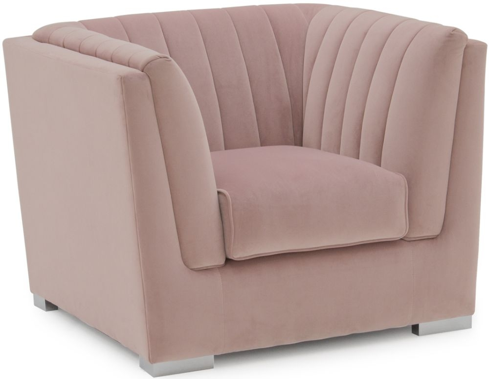 Vida Living Upton Blush Fabric Armchair with Chrome Legs