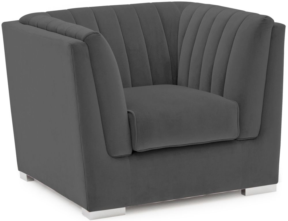 Vida Living Upton Charcoal Fabric Armchair with Chrome Legs