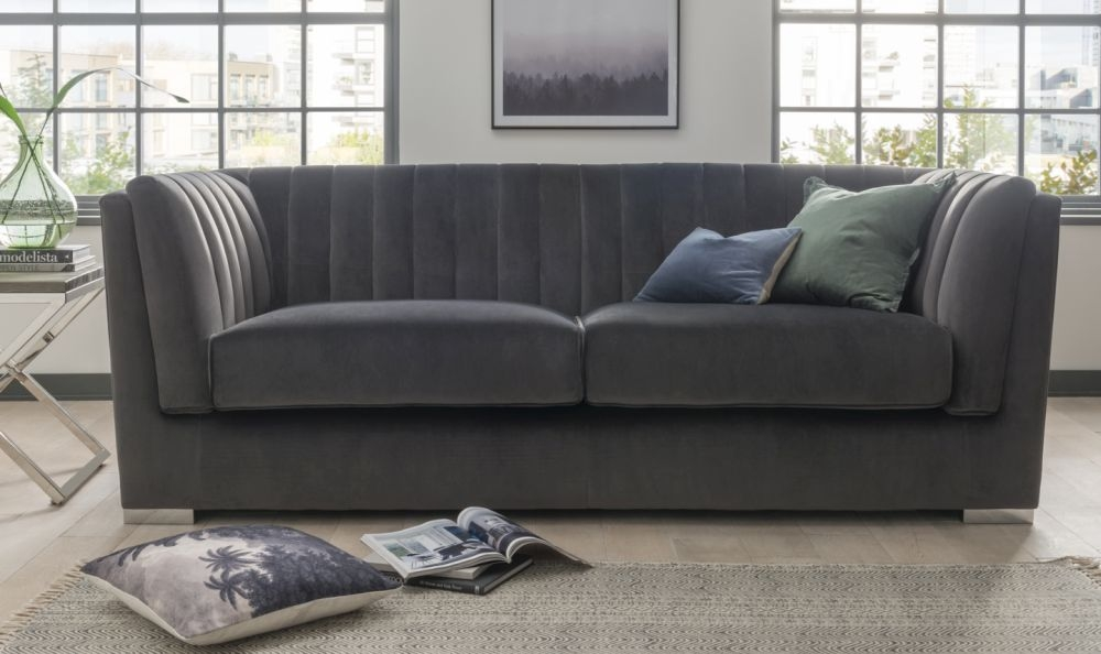 Vida Living Upton Grand Charcoal Velvet 3 Seater Sofa