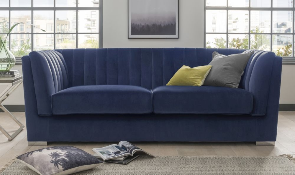Vida Living Upton Midi Blue Fabric 2 Seater Sofa with Chrome Legs