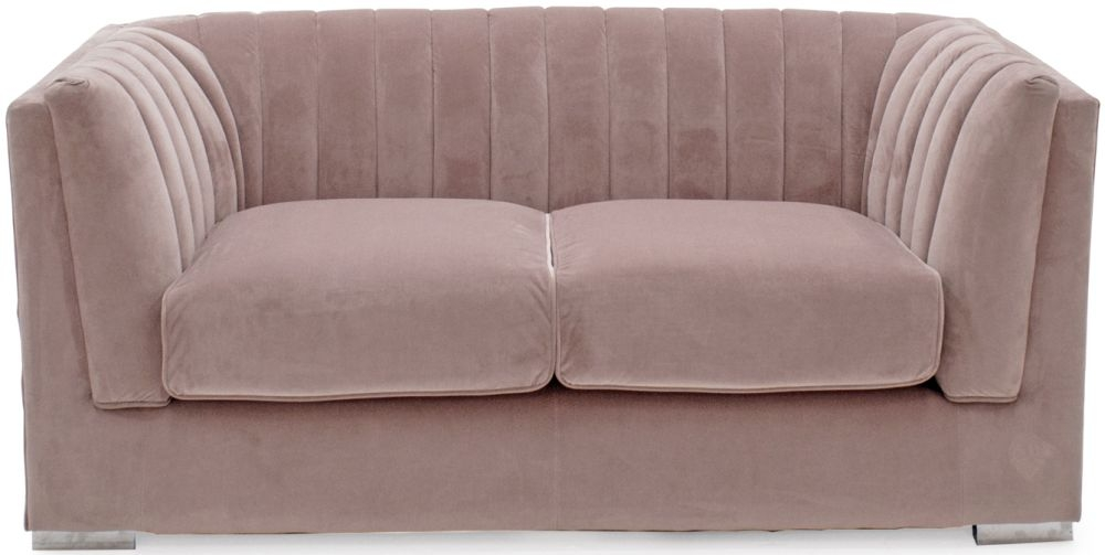 Vida Living Upton Midi Blush Fabric 2 Seater Sofa with Chrome Legs