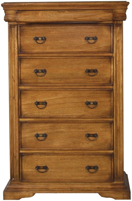 Vida Living Valentino Oak 5 Drawer Tall Chest