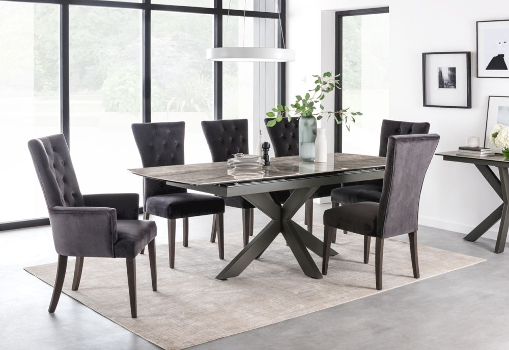Vida Living Valerius Grey Extending Dining Table and Chairs - Charcoal Velvet