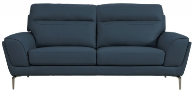 Vida Living Vitalia Indigo Leather 3 Seater Sofa